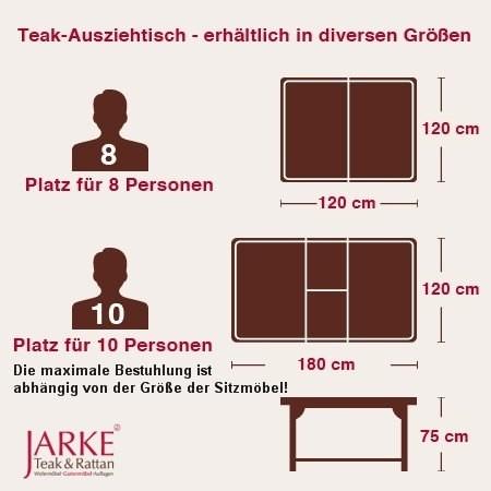 Teak Ausziehtisch, 120 x 120 -180 cm (ohne Foto)