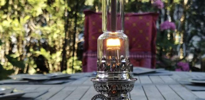 Petroleum Lampe vernickelt Karlskrona