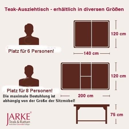 Teak Ausziehtisch eckig, 120 x 140 - 200 cm