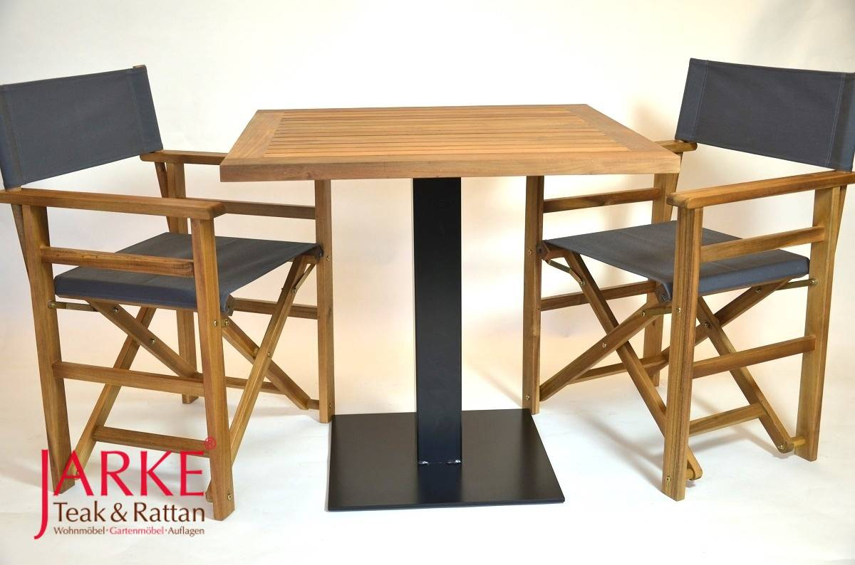 teak tisch 80 x 80 cm mit mittelfu aus verzinktem eisen jarke teak. Black Bedroom Furniture Sets. Home Design Ideas