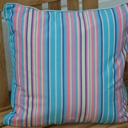 Sitzkissen Streifenmuster hellblau, pink