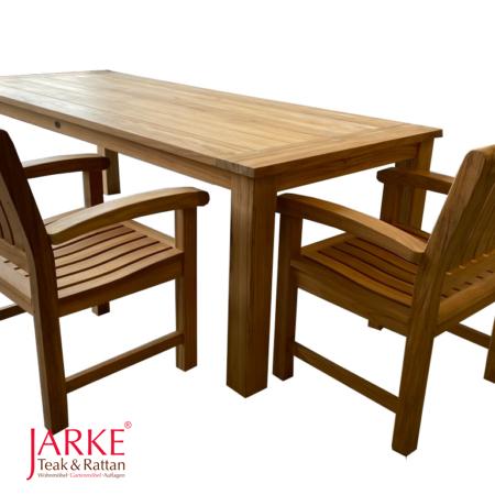 Teak Tisch Gigant und Angulia Sessel