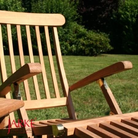 """Teak Deckchair """"Hamburg"""" mit Rädern/ Messingscharniere"""
