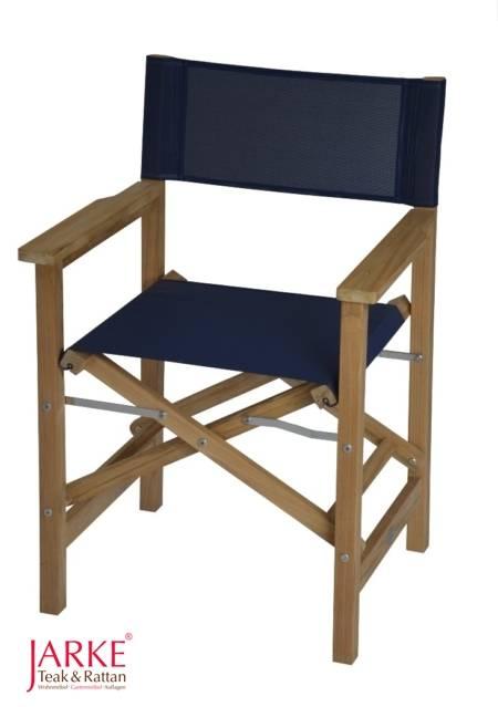 "Teak Regiestuhl ""Bristol"" Blau, Textline"