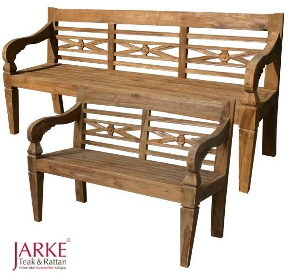 old teak bank batavia 120 cm mit schnitzereien jarke teak. Black Bedroom Furniture Sets. Home Design Ideas
